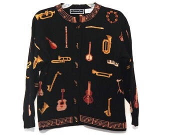 Vintage music sweater musical instruments orchestra teacher 90s