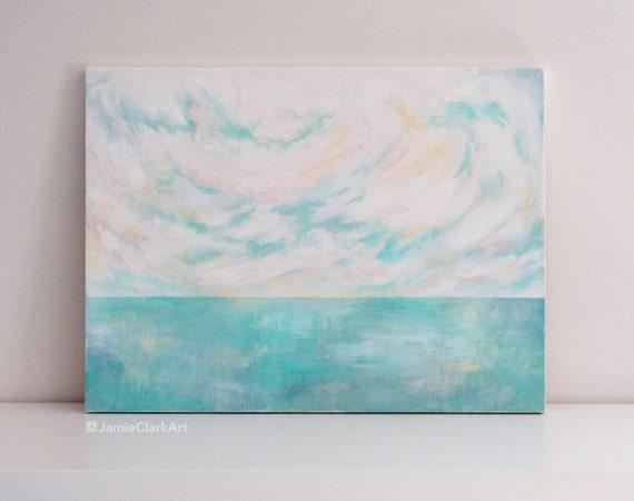 "Original 18x24 Painting ""Pastel Seascape"" FREE SHIPPING"