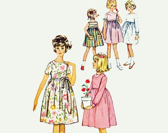 60s Girls Dress Pattern Empire Waist Dress Childs Dress Pattern Simplicity 5429 Girls 6 Sewing Patterns for Girls / Vintage Sewing Patterns