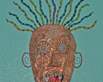 "OOAK ""21st Century Angst"" Trash Art Recycled Folk Outsider Wall Art"