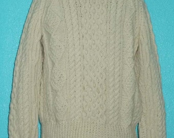"""80s """"Aran"""" Heavy Hand-Knit Cream-Colored Wool Ladies' Fisherman Knit Sweater — Size Large"""