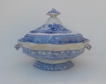 SALE Flow Blue Vegetable Dish and Lid - Antique Blue Bowl 1800s