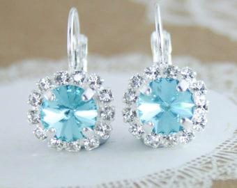 Something blue,Swarovski blue earrings,swarovski,light turquoise,rivoli earrings,turquoise wedding,turquoise earrings,halo earring,leverback