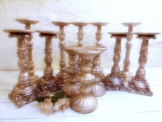 set of 12 rose gold pillar candle holders hollywood regency. Black Bedroom Furniture Sets. Home Design Ideas