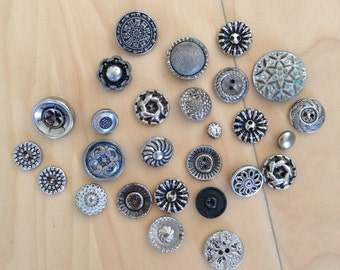 Buttons Vintage Collection Lot of 27 Metal Silver Tone