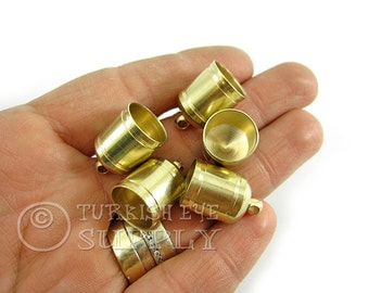 5 pc Raw Brass 12 mm Cord Ends, End Caps, Bead Caps, Mini Tassel Caps, Brass Cord Tip, Raw Brass Findings