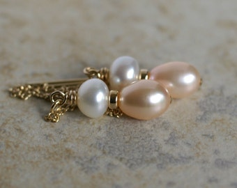 Freshwater pearl 14k gold fill ear threads, pearl drop earrings, ear threaders, threader earrings, jewelry gift for her, bridal earrings