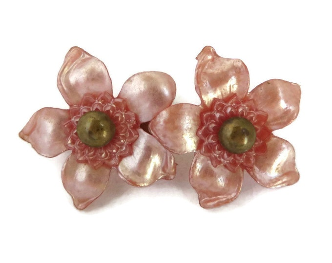 Vintage Brooch - Art Deco Celluloid Brooch, Pink Frost Carved Double Flower Pin, Gift for Her, Gift Box, FREE SHIPPING