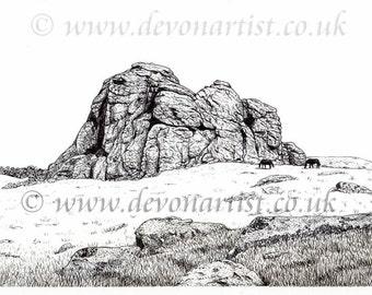Pen & Ink Original Drawing, Dartmoor Tor, Landscape Art