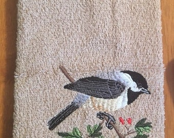 Rmbroidered ~BLACK Capped CHICKADEE~ Kitchen Bath Hand Towel