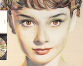Original, hand drawn portrait of Audrey Hepburn, in charcoal and pastel on calico
