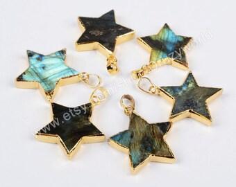 New Design Pretty Gold Plated Natural Labradorite Star Pendant Bead Gemstone Jewelry Labradorite Jewelry Making Jewelry G0614