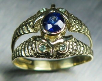 0.50cts Natural Royal Blue Sapphire 4.57mm & alexandrites 9ct 375 Yellow gold engagement owl ring all sizes