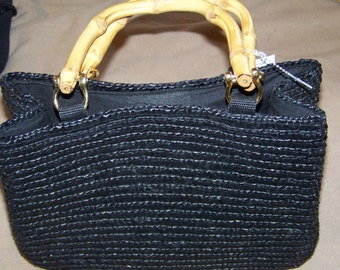 Simple and Sweet Black Straw Tote