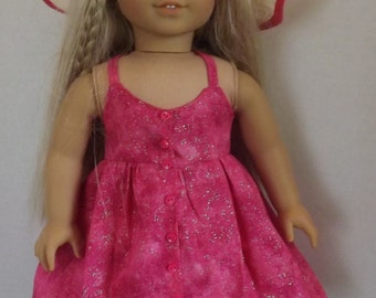 18 inch doll clothes Sparkling Pink Sundress and Hat