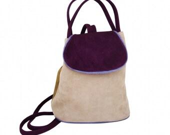 Mini bag backpack COACHELLA Greige Suede, Brown, raspberry and violet.