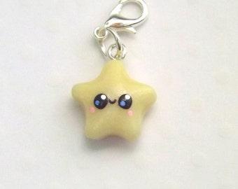 Glow Star Charm, Polymer Clay Charm, Kawaii Star Charm, Planner Charm, Stitch Marker, Progress Keeper, Cute Clay Charm