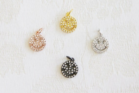CZ Micro Pave 12mm Happy Face  Charm with Jump Ring