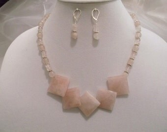 Beautiful Rose Quartz Squares & Silver 19 inch Necklace and Earrings Set.  One of a kind.