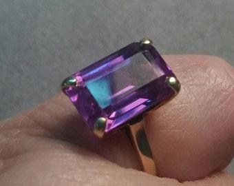 Solitaire Ring Alexandrite Syn 14K Gold Emerald Cut Beauty Deep Purple Rich Blue