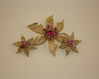 Brooch and Earring Set, Vintage Sarah Coventry Silver with Pink Rhinestone Brooch and Earrings