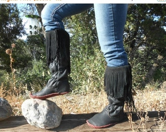 Moccasin Boots, Handmade Fringe Tall Moccs, Black Elk Hide Moccasins, Native American, Hand Sewn, Natural, Earthing, Leather Boots