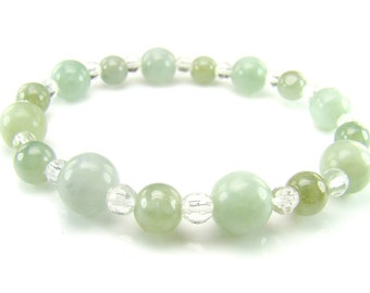 BB0686 Green Jade Clear Quartz Natural Crystal Gemstone Stretch Bracelet