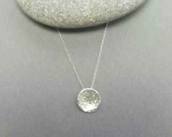 Full moon necklace / Tiny Silver hammered moon pendant  / Sterling silver pendant / Hand forged  / modern disc necklace