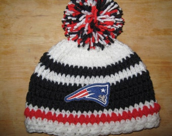 Crochet Beanie Baby Hat (New England Patriots) Embroidered Logo - Blue, Red & Gold with embroidered Nationals logo, 1 or 2 pom pom availabl