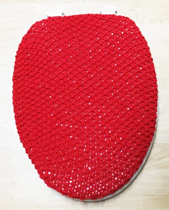 Cherry Red Elongated Small Toilet Lid Cover Bathroom Decor