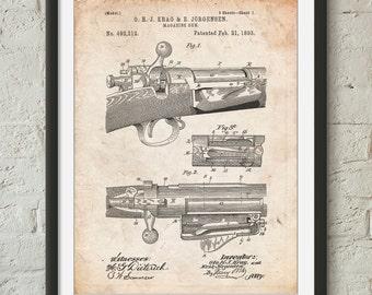 Repeating Rifle Patent Print, Bolt Action Print, Gun Decor, Gun Enthusiast, PP0913