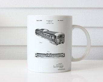 Railway Passenger Car Patent Mug, Locomotive, Train Room Decor, Model Trains, Railroad Mug, PP1006