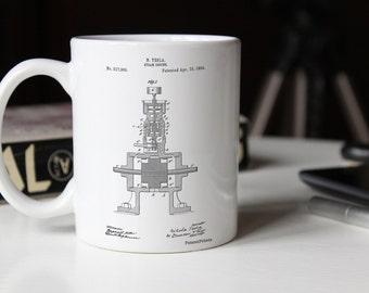 Tesla Steam Engine Patent Mug, Tesla Mug, Nikola Tesla, Technology Mug, Mechanic, PP1096