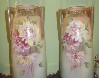Antique Nippon Vase Set of 2 Flowers Floral Hand-Crafted 1900-1920