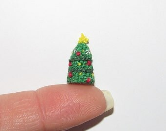"Miniature Christmas Tree Dollhouse Christmas tree dollhouse decor Christmas dollhouse miniatures doll house christmas decoration 1"" scale"