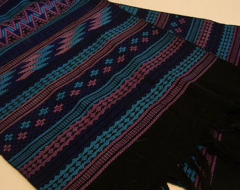 Woven Serape Table Runner or Shawl - Vintage Blue Black Pink