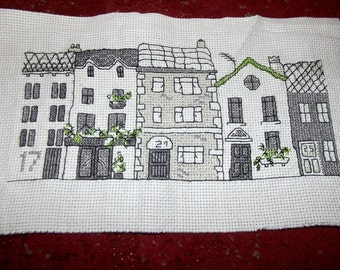 Completed Cross Stitch Row of Houses