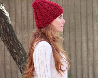 Back to Basics- hand knit ribbed beanie (Holly)
