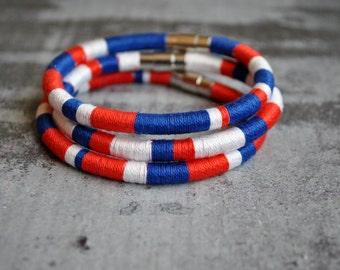 Set of 3 Boho chic nautic colors thread bangle bracelet | nautic wristband | blue red white | nautische armband | nautical mens bracelet