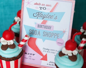 Retro Soda Shoppe 50s Diner Birthday Party - Printable Customized 5x7 Invitation