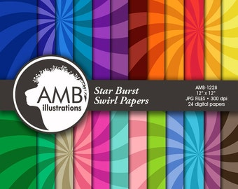 Star Burst Digital Papers, Swirl Pattern, scrapbook papers for invites and crafts, commercial use, AMB-1228