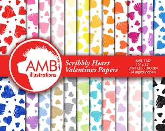 Hearts Digital Papers, Scribble Heart papers, Valentine papers, scrapbook, digital background, commercial use, AMB-1149