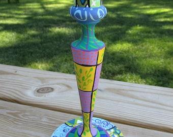 Zentangle Hand Painted Candleholder
