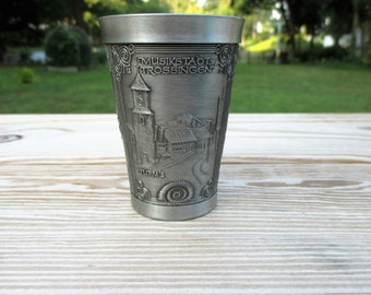 Large German Zinn Decker Pewter Shot Glass