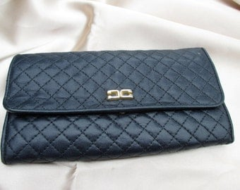 Vintage Jeun Bang Black Quilted Leather Snap Clutch Wallet