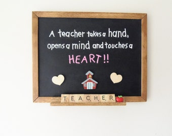 Personalized Teacher Gift- Erasable Magnetic Chalkboard-  Scrabble
