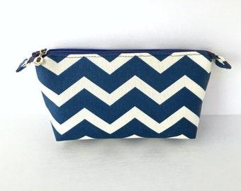 Royal Blue and White Chevron Makeup Bag / Travel Bag / Zipper Pouch (small)