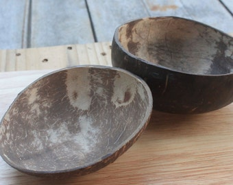 Coconut bowl,coconut shell 2 bowls,bright and dark color,size 4 - 4.5  x  1 - 2 inch