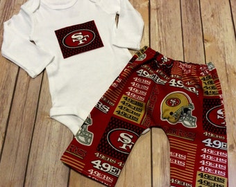 Handmade San Francisco 49ers Baby or Toddler Cotton Pants and Matching Bodysuit
