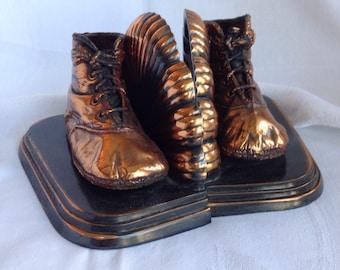 Bronze Baby Shoe Bookends